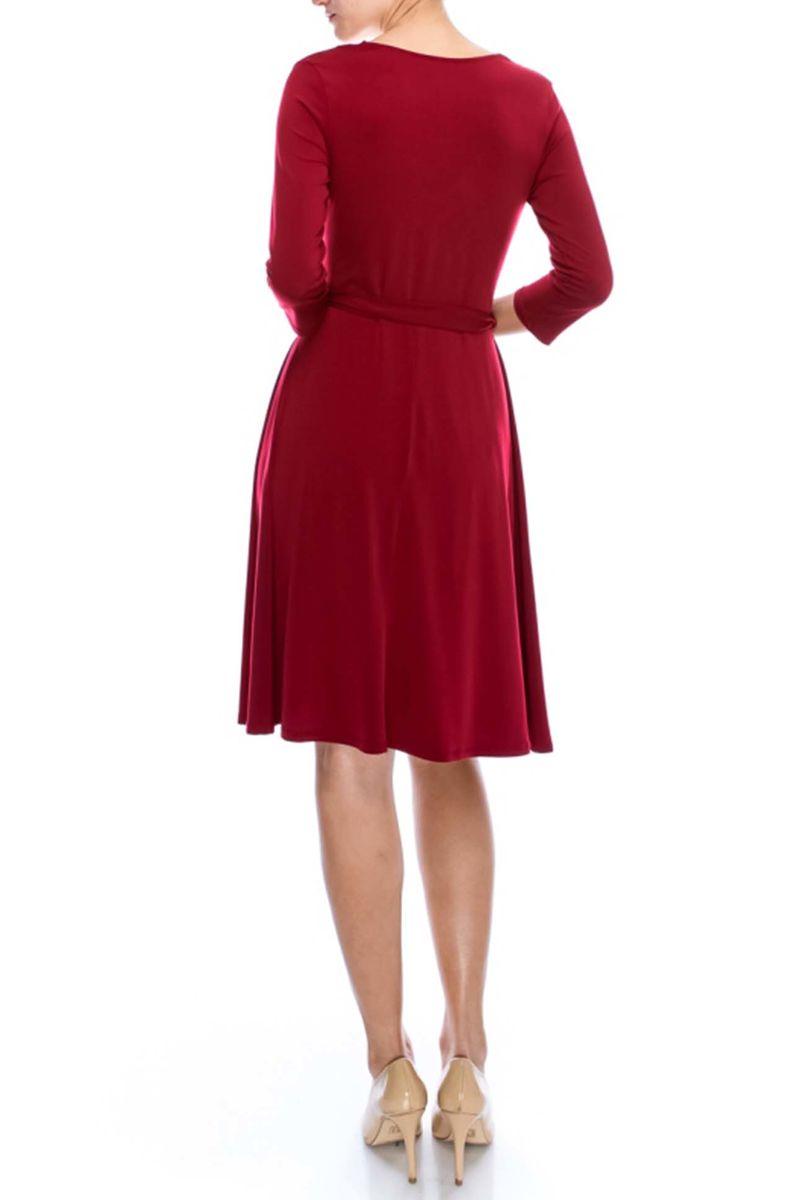 Deep Burgundy Wrap Dress - Red Apparel Online