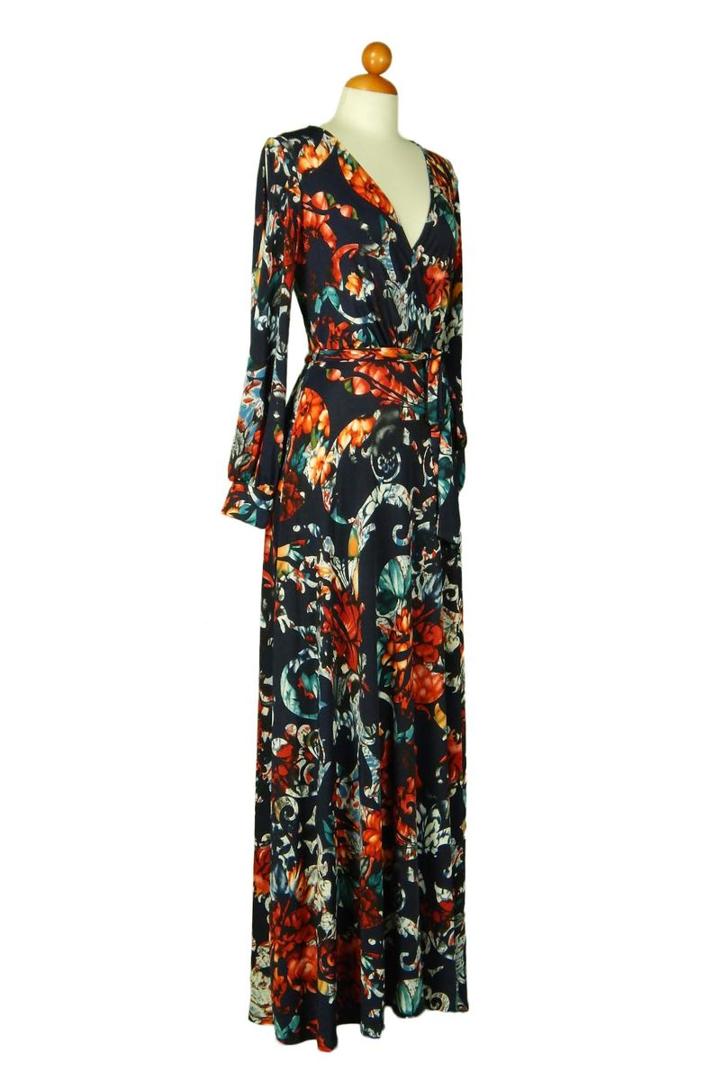Navy Long Sleeve Floral Maxi Dress