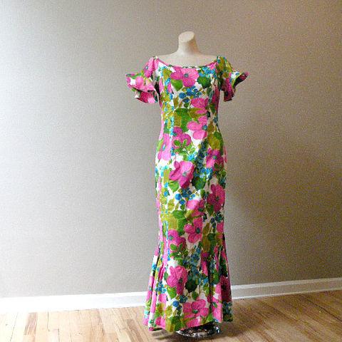 60s Lauhala Mermaid Hawaiian Dress 40b29w  Pretty Sweet Vintage