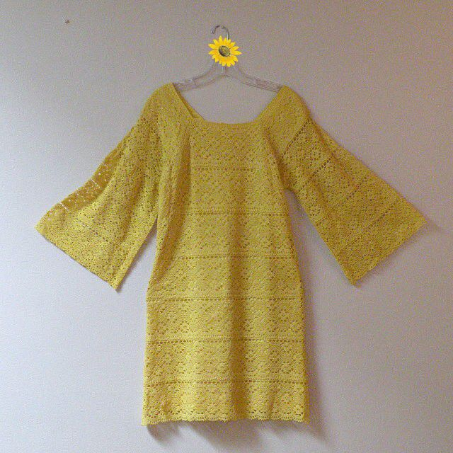 60s70s Wish They All Could Be California Girls Crochet Dress 36b35w  Pretty Sweet Vintage