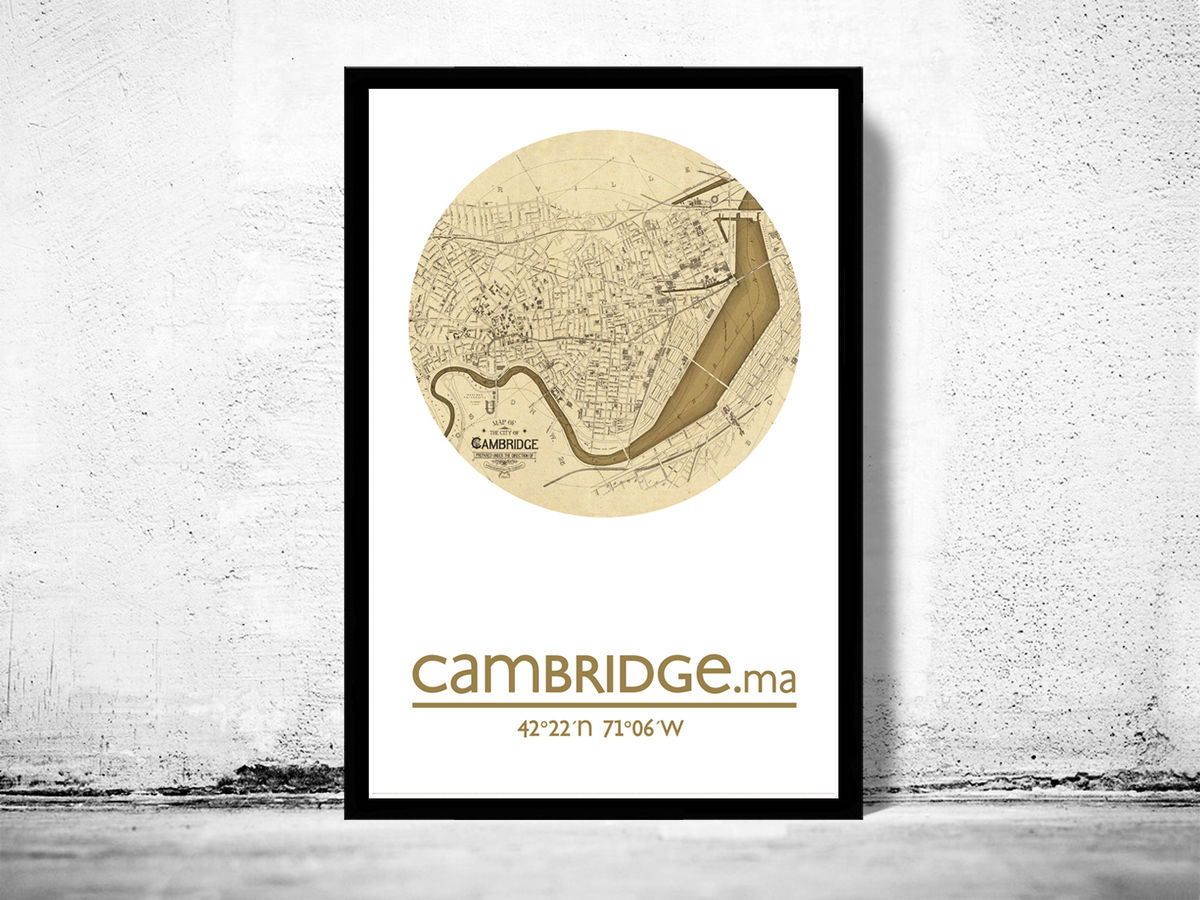 cambridge ma city poster city map poster print