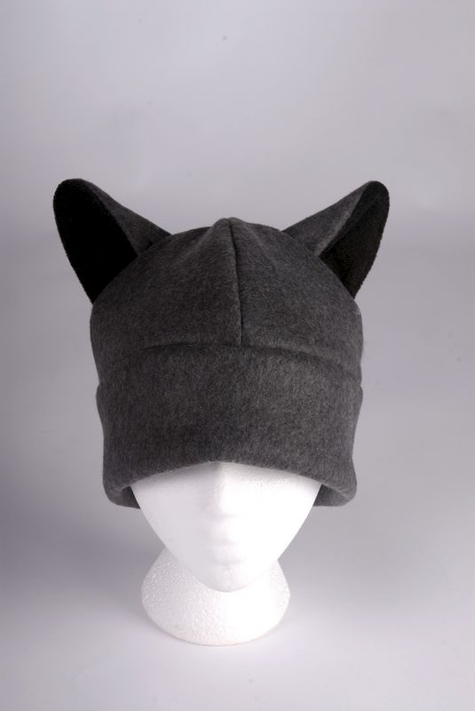 Wolf Hat  Mens Womens Teen Wolf Hat Gray Fleece Wolf Ears