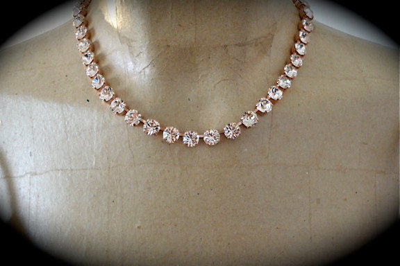 Blush Swarovski Crystal Rose Gold Princess Length Necklace