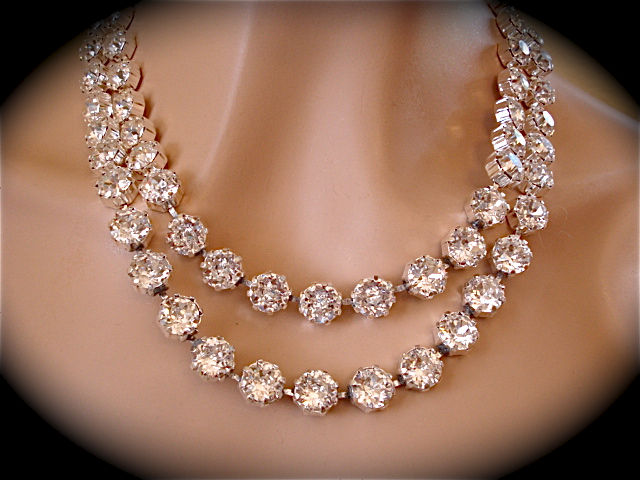 Double Strand Swarovski Crystal Statement Necklace  The Crystal Rose Bridal Jewelry and Accessories