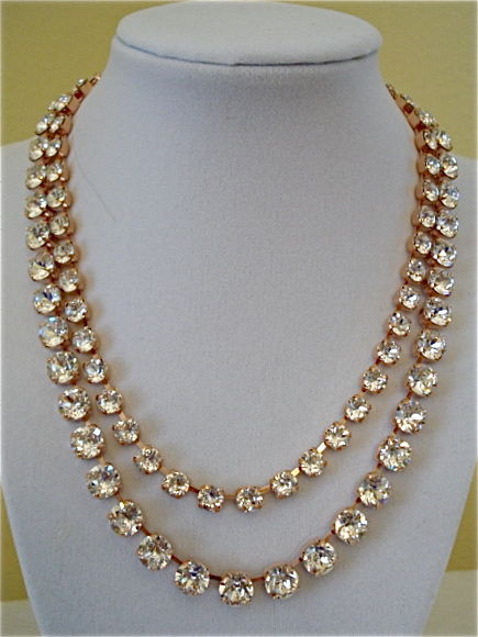 Two Row Swarovski Rose Gold Bridal Necklace With Clear