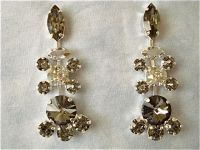 Vintage Style Swarovski Black Crystal Chandelier Earrings