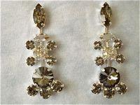 Vintage Style Swarovski Black Crystal Chandelier Earrings