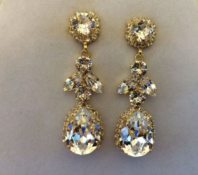 Swarovski Crystal Embellished Teardrop Dangle Earrings Product Images Of