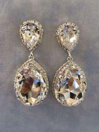 Swarovski Crystal Embellished Teardrop Earrings - silver ...