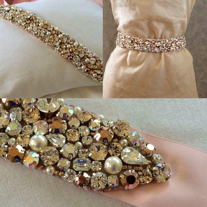 Pearl And Rose Gold Bridal Sash The Crystal Rose Bridal