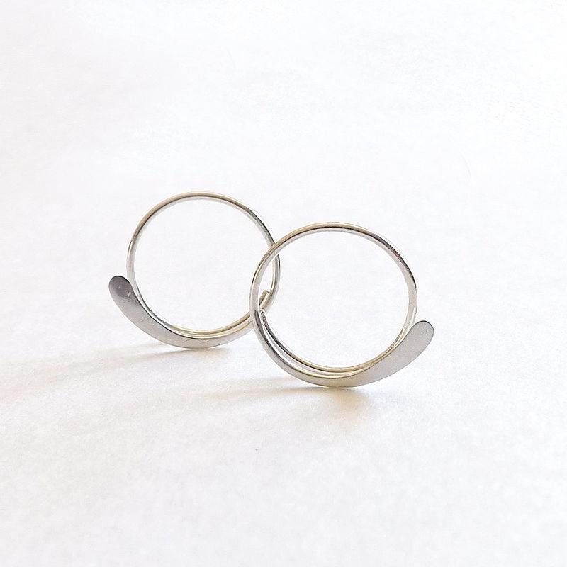 Sterling Silver Hammered Open Hoop Earrings