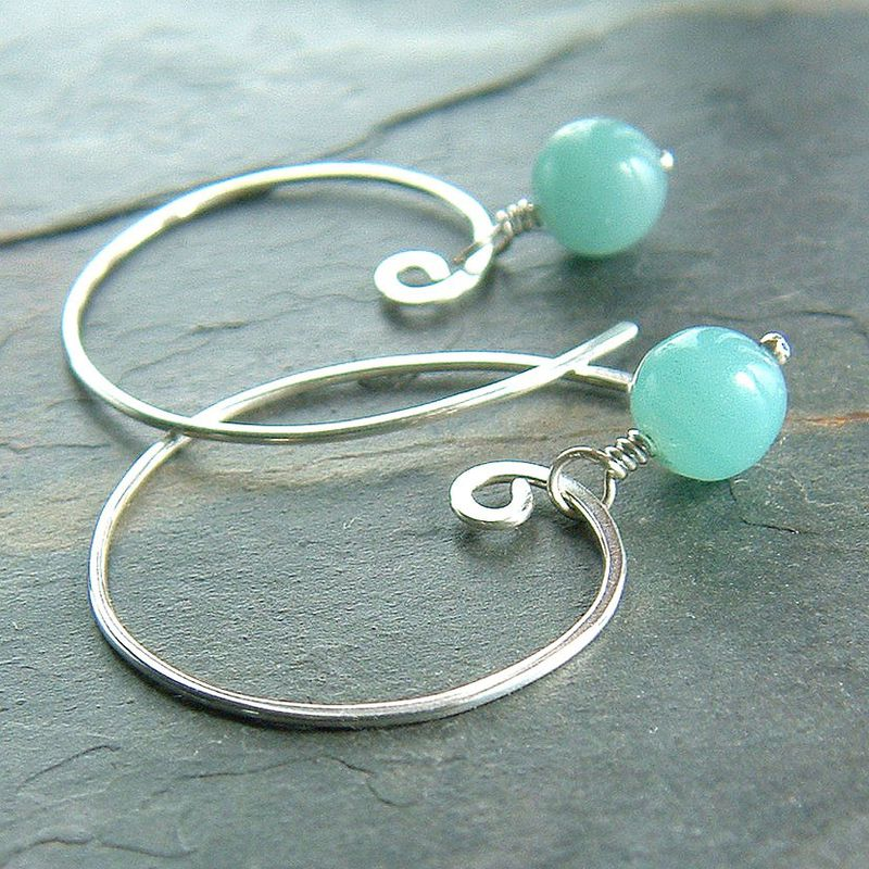Amazonite Open Hoop Earrings in Sterling Silver
