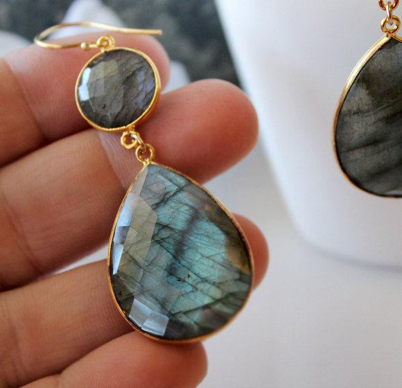 Flash Labradorite Double Drop Earrings, Blue Gray Gemstone