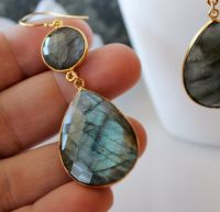 Flash Labradorite Double Drop Earrings, Blue Gray Gemstone ...
