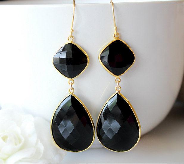 Black Onyx Double Drop Earrings Large Earrings Red