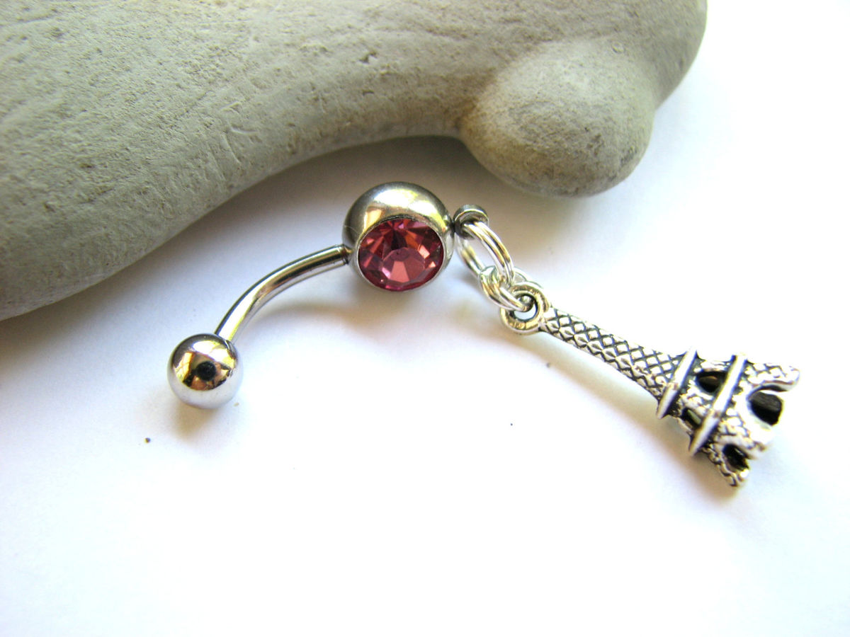 Eiffel Tower Belly Button Ring Surgical Steel Bar