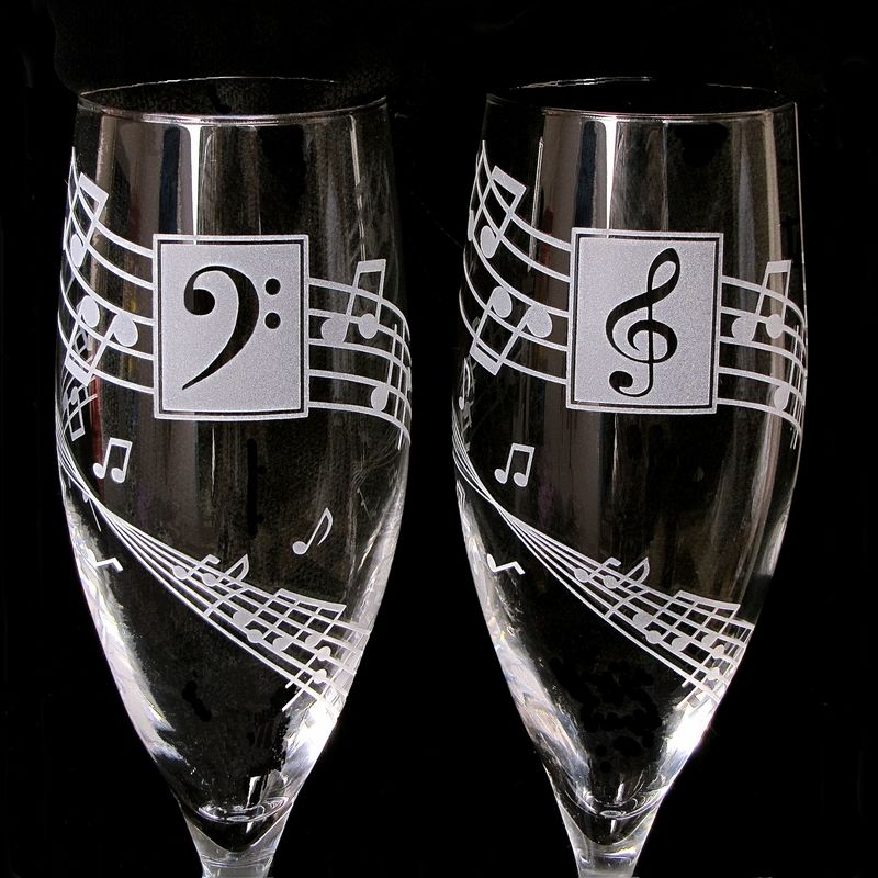 Musical Wedding Toasting Glasses Concert or Music Lovers Wedding  The Wedding Gallery by Brad