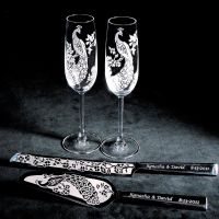 Peacock Wedding Cake Server and Knife, Champagne Flute Set ...