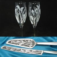 Calla Lily Wedding Set, Champagne Glasses, Cake Server and