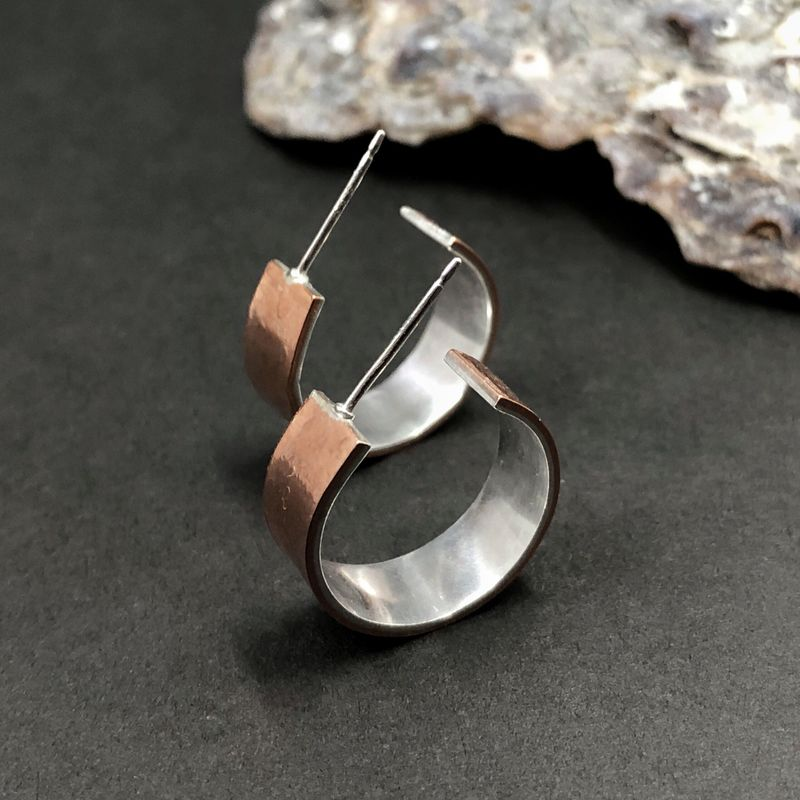 Small Copper Hoops With Sterling Silver Lining - Mosaicsmith