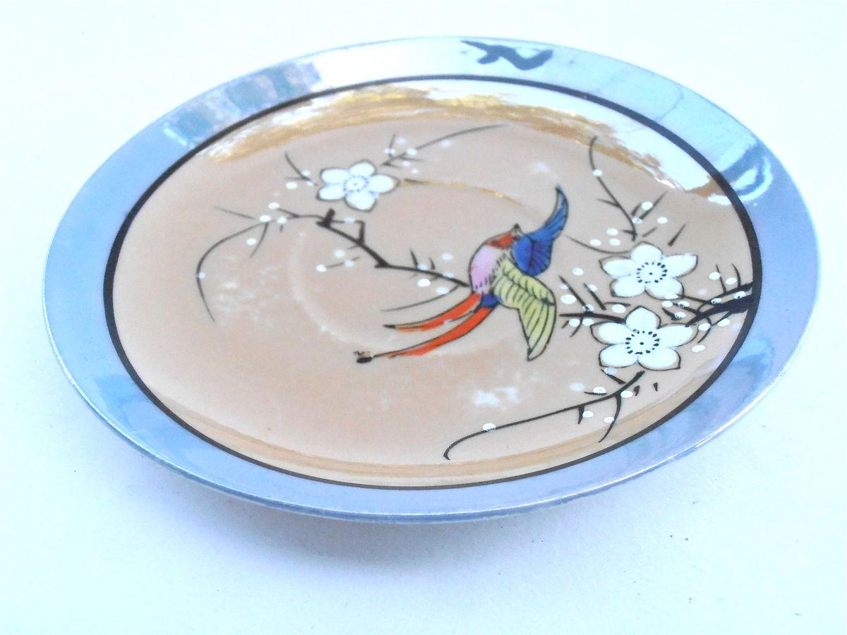 Vintage Peach Blue Iridescent Dish Takito Luster Ware Fine