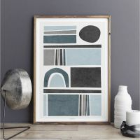 Abstract Wall Art Prints - Living Room Art - Blue Grey ...