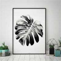 Monstera Leaf Print - Botanical Wall Art Print - Black and ...
