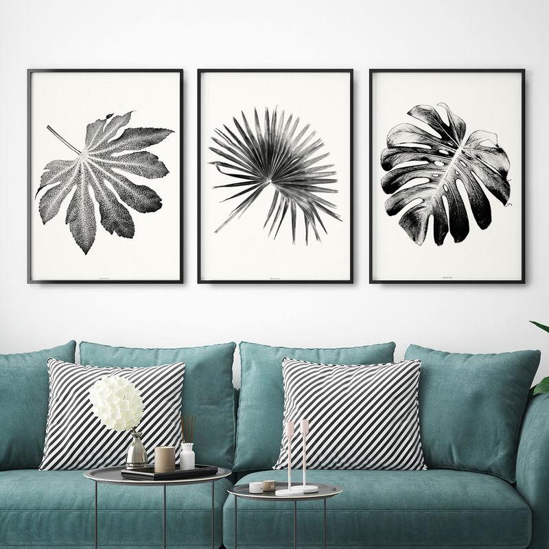 Set Of 3 Art Prints Botanical Leaf Wall Art Black And White Wall Art Living Room Art Bronagh Kennedy Art Prints
