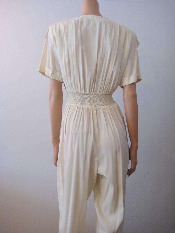 Vintage 90s Womens Jumpsuit in Cream Size 6  Vintage Renude