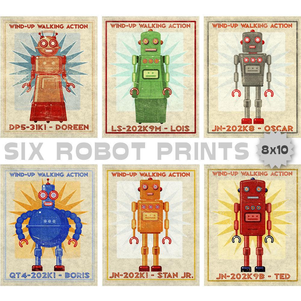 retro robot art prints