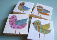 Collage Bird Art Blocks - Set of Four - 3 in x 3 in - Bird ...
