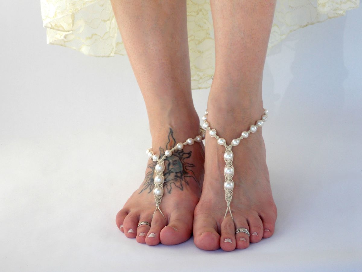 White Pearl Barefoot Sandals