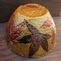 Handmade Paper Mache Bowl, Gold and Copper Leaves Papier ...
