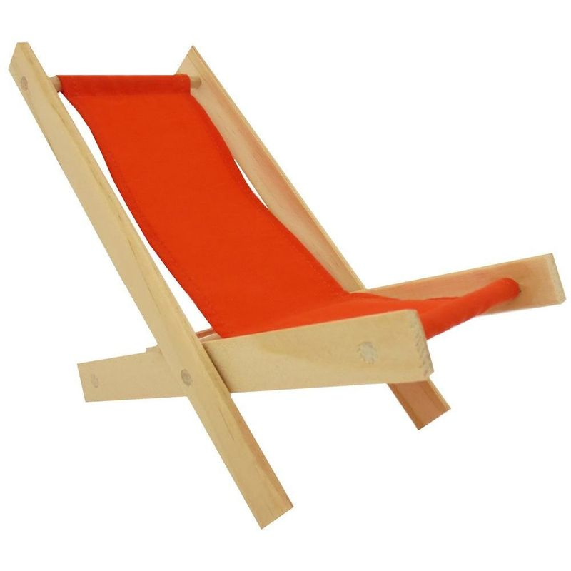 Toy Wood Lawn Folding Chair orange fabric  Toy Tents And