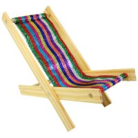 Toy Wood Beach Folding Chair, glitter multicolor stripe ...