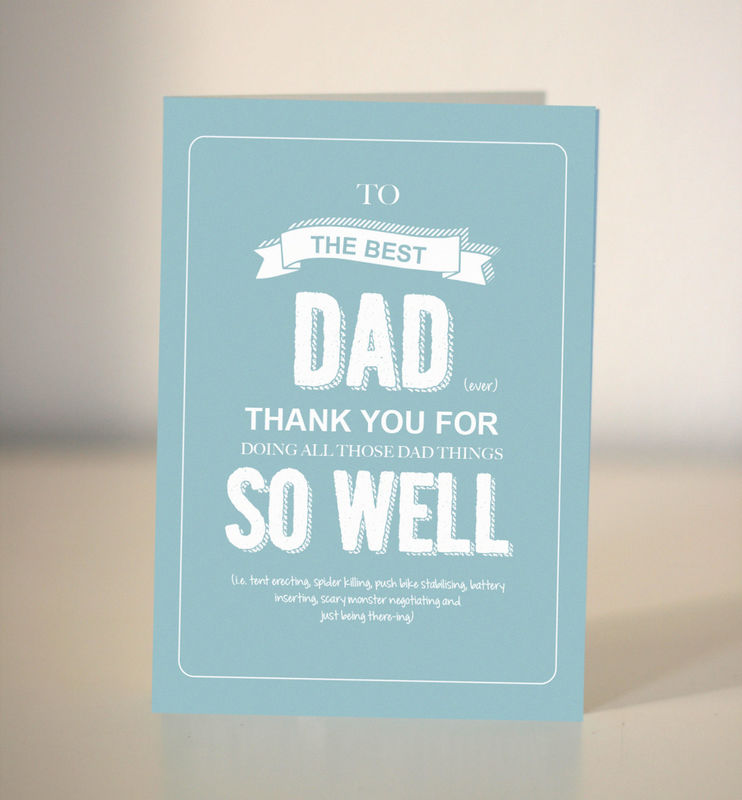 Card For Dad To The Best Dad Thank You Dad Dickens Ink