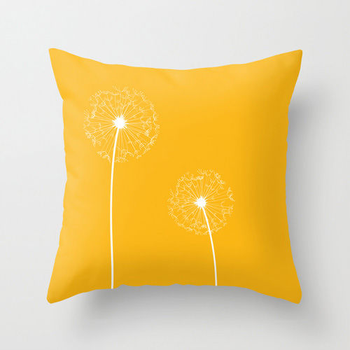 Yellow Dandelion Cushion  with insert  Free UK Shipping