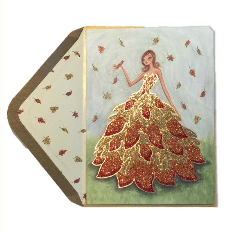 Bella Pilar Autumn Girl In Leaf Dress Anas Papeterie