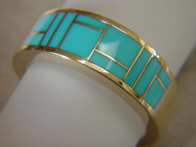 Sleeping Beauty Turquoise In 10 Mm Wide 14 Karat Gold Ring