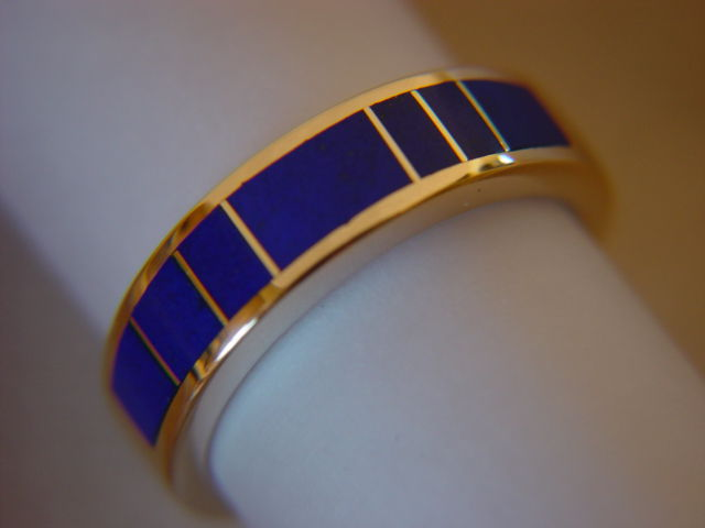 Lapis Lazuli In 5mm Wide 14 Karat Gold Ring Carusetta