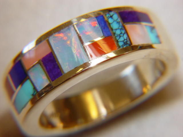 Multi Stone Inlay in 7mm Wide 18 Karat Gold Ring