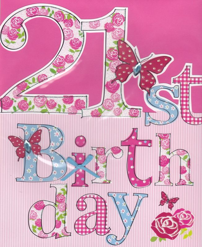 Hand Finished Floral 21st Birthday Card Large Luxury Birthday Card Karenza Paperie