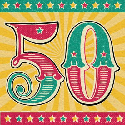 Retro 50th Birthday Card Karenza Paperie