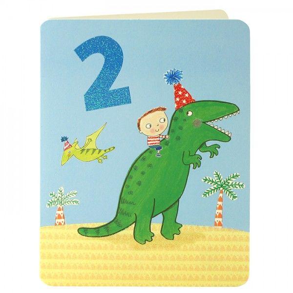 Boy Amp Dinosaur Age 2 Birthday Card Karenza Paperie