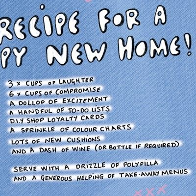 New Home Recipe Card Karenza Paperie
