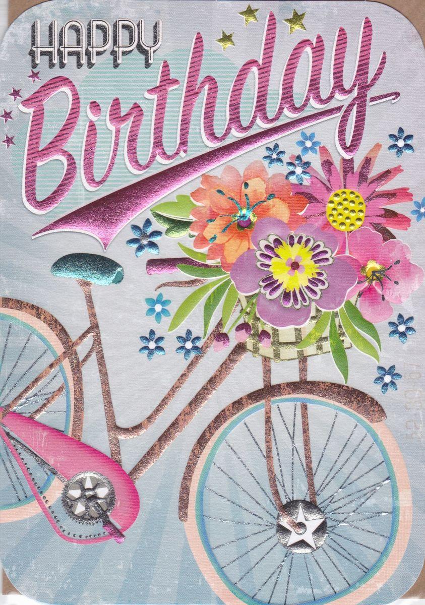 Bicycle & Flowers Birthday Card - Karenza Paperie