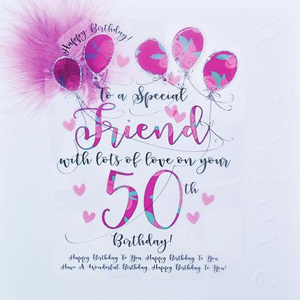 Handmade Friend 50th Birthday Card Large Luxury