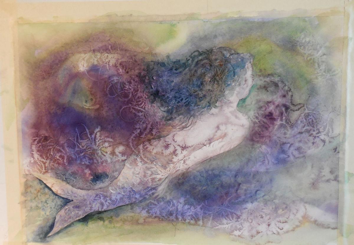 Hawaiian Watercolor Mermaid Paintings