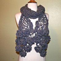 Gray Flower Scarf Stole Shawl Irish Crochet Lace Freeform ...