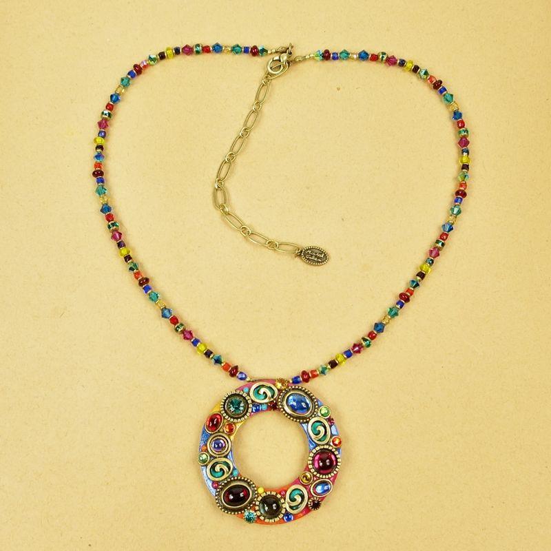 Michal Golan Confetti Large Hoop Pendant Beaded Necklace